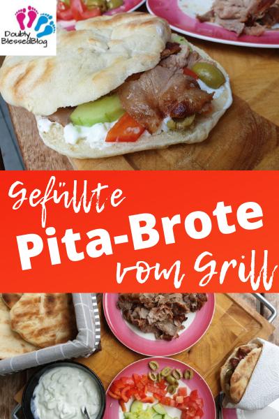 Gefüllte Pita-Brote vom Grill - Pinterest Pin