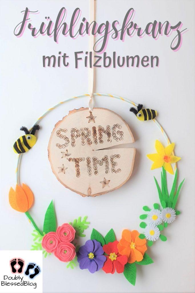 Pinterestpin Frühlingskranz aus Filzblumen